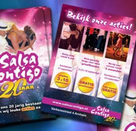 Dubbelzijdige flyer voor Salsa Contigo