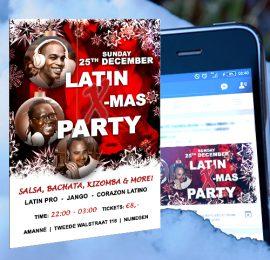 Flyer en FBbanner voor een Latin X-mas Party